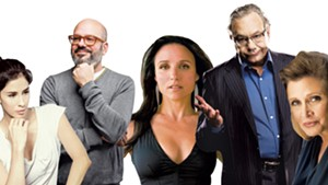 (Left - right): Sarah Silverman, David Cross, Julia Louis-Dreyfus, Lewis Black, CarrieFisher
