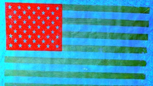 Hand-printed flag by James Bellizia.