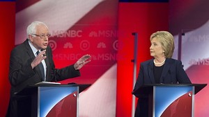 Sen. Bernie Sanders and Hillary Clinton debating in February in New Hampshire.