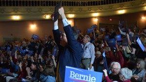 State convention delegates show their support for Sen. Bernie Sanders (I-Vt.) in Barre in May.