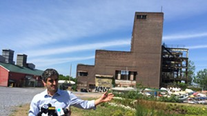 Mayor Miro Weinberger holds a press conference outside the Moran Plant on Thursday.
