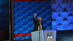 Sen. Bernie Sanders addresses the Democratic National Convention Monday night in Philadelphia.