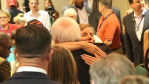 Sen. Bernie Sanders hugs Vermont delegate Shyla Nelson Wednesday morning in Philadelphia.