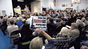 A crowded meeting on the Vermont Gas pipeline project at Shoreham Elementary School in 2014