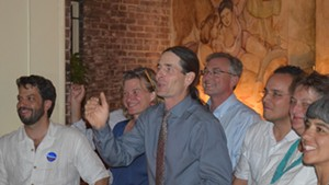 Sen. David Zuckerman (P/D-Chittenden) celebrates winning the Democratic nomination for lieutenant governor Tuesday.