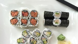 Asian Gourmet's no-frills sushi combo: spicy tuna, yellowtail-and-scallion, California roll