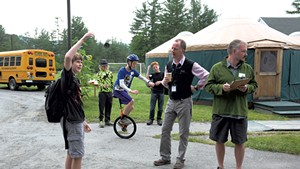 Sharon Academy head of school Michael  Livingston, second from right, learns about yo-yoing from seventh grader Elliot Tonks
