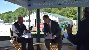 Republican candidate for lieutenant governor Randy Brock (left) debates Progressive/Democrat David Zuckerman (center) with WDEV radio talk show host Mike Smith at the Tunbridge Fair last week.
