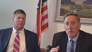 Gov. Peter Shumlin (right) and Green Mountain Care Board chair Al Gobeille discussing an all-payer waiver system for reimbursing health care providers.