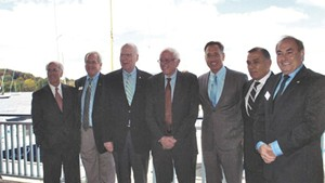 Left to right: Congressman Peter Welch, Bill Stenger, Sen. Patrick Leahy, Sen. Bernie Sanders, Gov. Peter Shumlin, Ariel Quiros and William Kelly in Newport in September 2012.