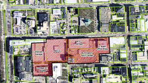 The red crosshatched area depicts the downtown overlay district. It would include the entire Burlington Town Center redevelopment.