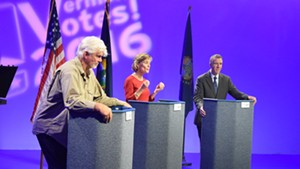 Gubernatorial candidates debate at Vermont PBS on Thursday night. From left: Liberty Union candidate Bill Lee, Democrat Sue Minter and Republican Phil Scott.