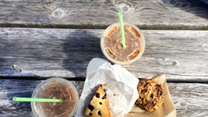 Iced maple mochas, blueberry scone and pumpkin-chocolate chip cookie at Blank Page Café