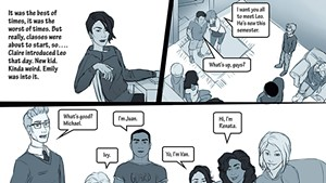 A comic panel from the Make a Change game