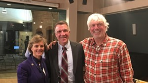 Sue Minter, Phil Scott and Bill Lee at a Vermont Public Radio debate Thursday in Colchester