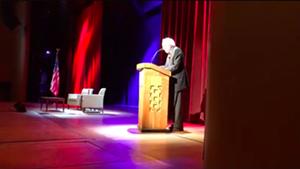 Sen. Bernie Sanders (I-Vt.) speaking Wednesday at George Washington University