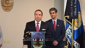 Burlington Police Chief Brandon del Pozo (left) and Mayor Miro Weinberger