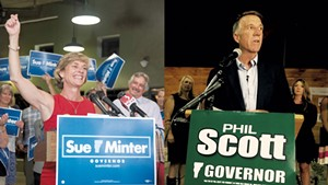 Sue Minter and Phil Scott