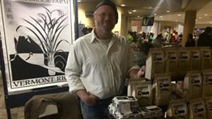 Erik Andrus sells his rice and duck eggs at the Burlington Farmers Market