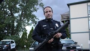Burlington Police Chief Brandon del Pozo with the AR-15