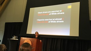 "Uinversity of Vermont professor Stephanie Seguino presenting her report, ""Driving While Black and Brown in Vermont."""