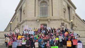 Vermonters gathered on the steps of the Cannon House Office Building on Capitol Hill prior to the rally and march.