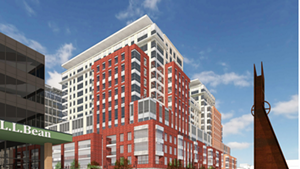 Rendering of Burlington Town Center as seen from Cherry and St. Paul streets
