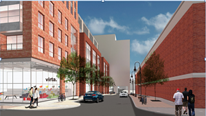 Rendering of the Burlington Town Center from Pine St.
