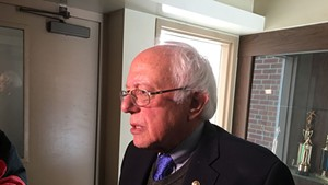 Bernie Sanders speaking to reporters in St. Johnsbury on March 16