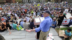 Congressman Peter Welch (D-Vt.) speaking to the crowd at the climate rally