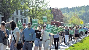 Vermont-NEA supporters marching to the governor's office last Wednesday