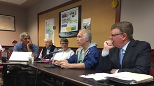 Keep BT Local chair Alan Matson, at microphone, speaks at a BTAB meeting Wednesday.