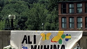 Banner on the bridge between Burlington and Winooski