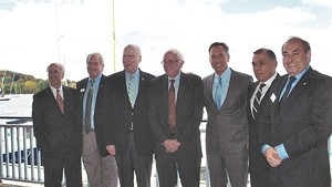 Left to right: Congressman Peter Welch, Bill Stenger, Sen. Patrick Leahy, Sen. Bernie Sanders, Gov. Peter Shumlin, Ariel Quiros and William Kelly at the unveiling of the Northeast Kingdom Economic Development Initiative in Newport in September 2012.