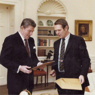 President Ronald Reagan with McClaughry at the White House - COURTESY OF JOHN MCCLAUGHRY
