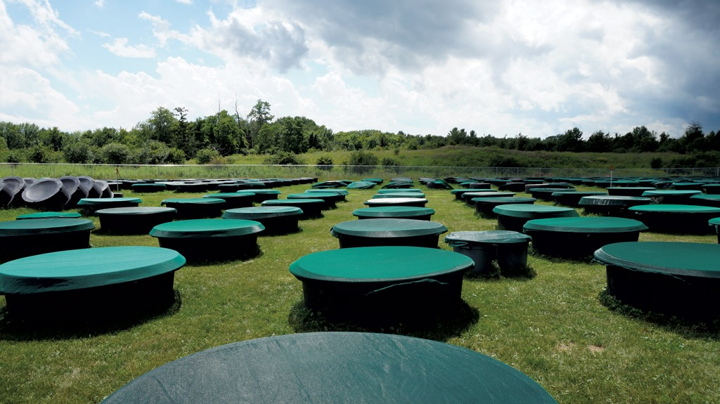 Outdoor tanks functioning as lake simulators - COURTESY OF MARY MARTIALAY