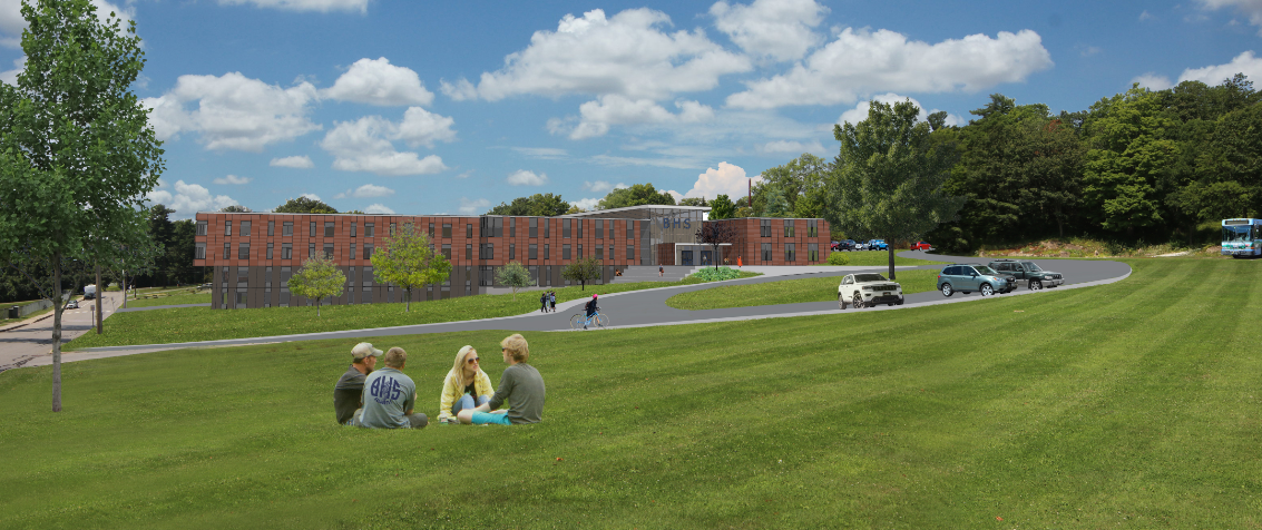 Rendering of the proposed renovation to Burlington High School. - COURTESY