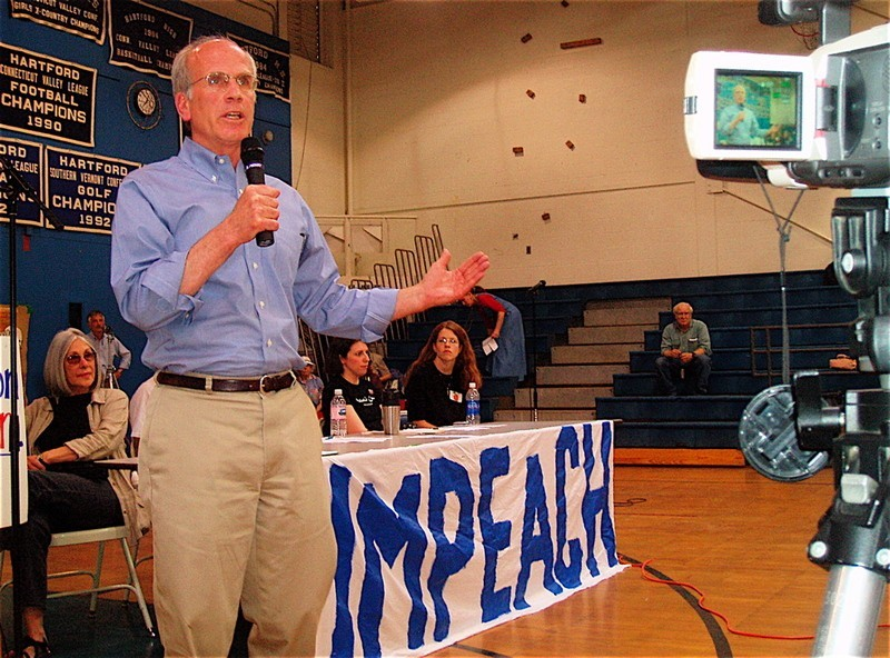 U.S. Rep. Peter Welch addresses supporters of impeaching President George W. Bush at a May 2007 meeting at Hartford High School. - FILE: PETER FREYNE