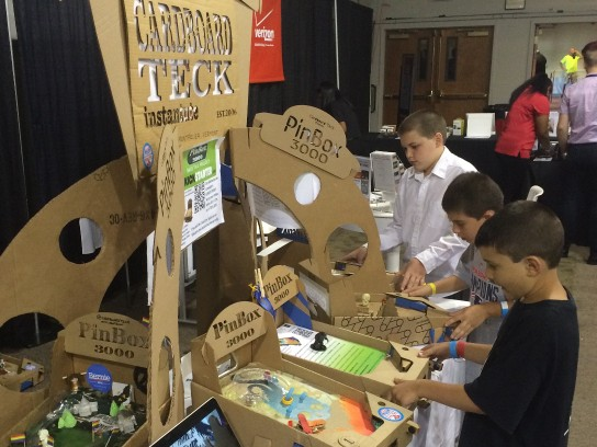 Kids playing with PinBox 3000 at Pintastic New England pinball expo in Sturbridge, Mass. - CARDBOARD TECK INSTANTUTE