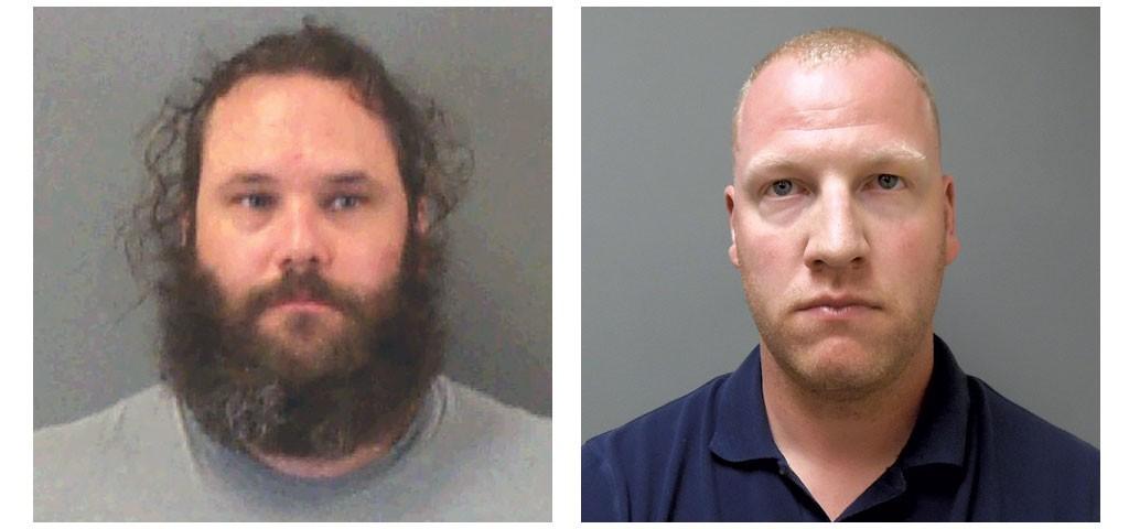 Wayne Brunette in 2003 (left) and former Burlington police officer Ethan Thibault - COURTESY OF BURLINGTON POLICE DEPARTMENT