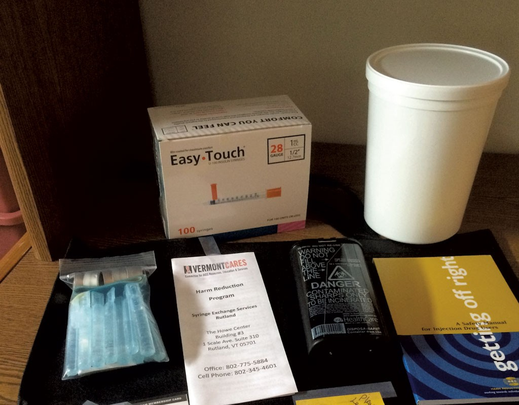 Needles and sterile supplies ready to be given away at Vermont Cares in Rutland - NANCY REMSEN