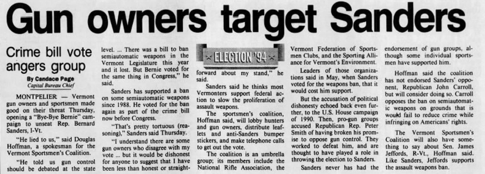 An August 26, 1994, account of the backlash Sanders faced after supporting an assault weapons ban - BURLINGTON FREE PRESS