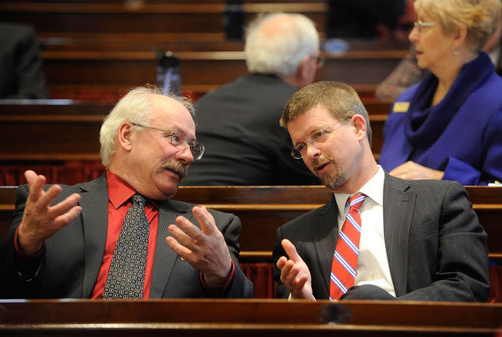 House Speaker Shap Smith, right, with Rep. Bob Helm. - JEB WALLACE-BRODEUR