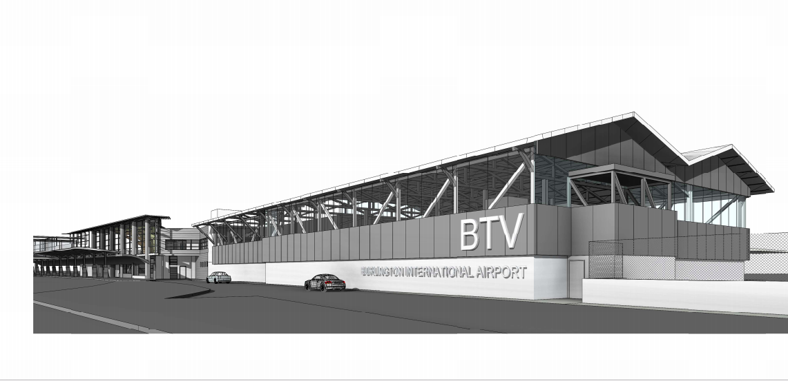 Rendering of expanded terminal at Burlington International Airport - COURTESY OF BTV