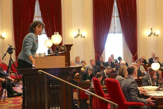 House Speaker Mitzi Johnson gaveling in the final override vote Wednesday - KEVIN MCCALLUM