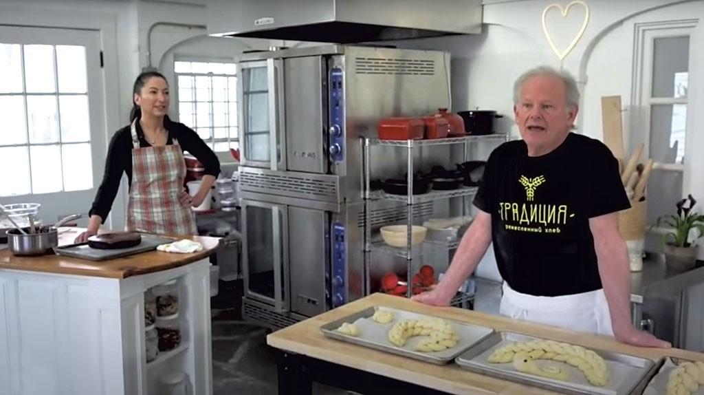 "Pastry chef Gesine Bullock-Prado on ""The Isolation Baking Show,"" cohosted with retired King Arthur Flour bakery director Jeffrey Hamelman - SCREENSHOT"