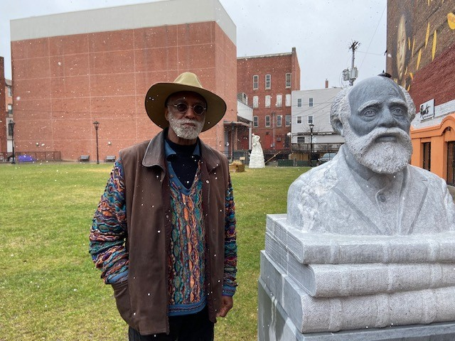 Al Wakefield in Rutland with the newly installed sculpture of Martin Freeman, the first black president of an American college - COURTESY: BARBARA JEROMIN