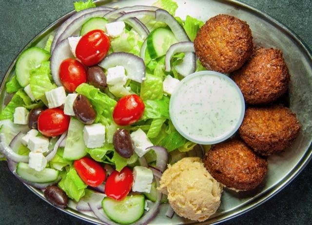 Falafel Greek Salad at Café Mediterano - COURTESY BARNEY CRNALIC