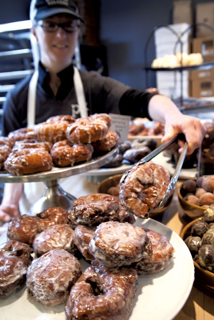 click to enlarge lara atkins with apple fritters at parkside kitchen matthew thorsen - Kitchen Table Bistro Richmond Vt
