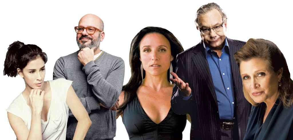 (Left - right): Sarah Silverman, David Cross, Julia Louis-Dreyfus, Lewis Black, CarrieFisher - COURTESY OF JUST FOR LAUGHS FESTIVAL